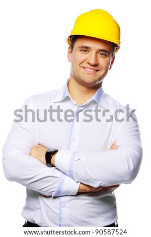 Portrait of happy young foreman with hard hat - stock photo