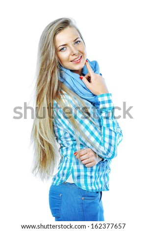 Portrait of happy young woman isolated on white background - stock photo