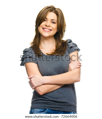 Portrait of happy young  woman  with folded hand .  over white background . - stock photo