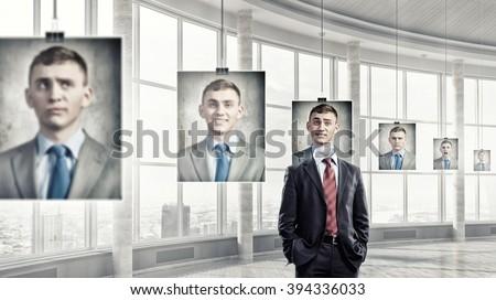 Portrait of headless businessman - stock photo