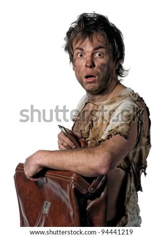 Portrait of homeless burnt man over white background - stock photo
