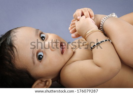 Portrait of Indian Cute baby  - stock photo
