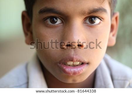 Portrait of Indian teen boy. - stock photo