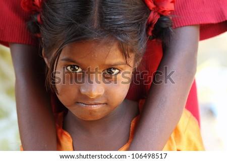 Portrait of Indian Village Girl - stock photo