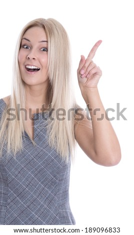 Portrait of isolated pretty woman with forefinger has an idea on white background.  - stock photo