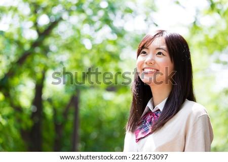 portrait of japanese high school student - stock photo