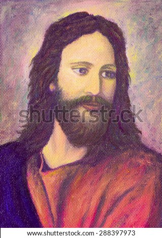 Portrait of Jesus Christ, original oil painting on canvas, Bright color - stock photo
