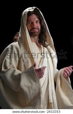 Portrait of Jesus with gentle look on dark background - stock photo