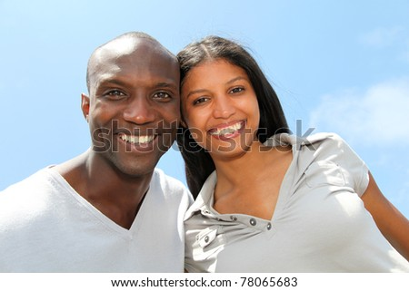 Portrait of joyful couple - stock photo