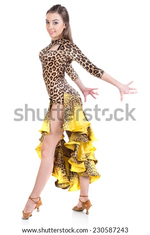 Portrait of latino female dancer in action. Isolated on white. - stock photo