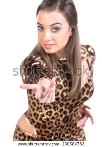 Portrait of latino female dancer is looking at the camera. Isolated on white. - stock photo