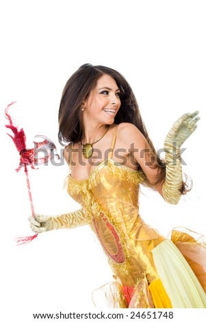 Portrait of laughing girl or actress in theatre taking part in scene - stock photo