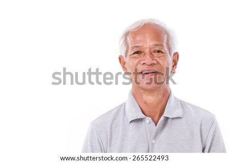 portrait of laughing senior man - stock photo