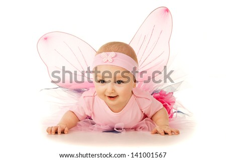 portrait of little baby in costume isolated - stock photo