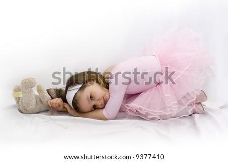 Portrait of little beautiful ballerina - stock photo