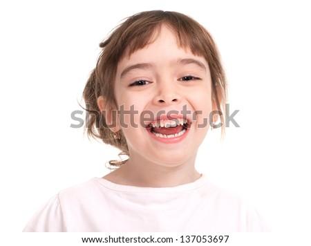 Portrait of little beautiful girl, close up - stock photo