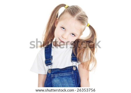 portrait of little blonde girl with ponytails - stock photo
