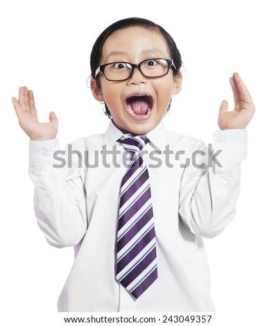 Portrait of little boy in business suit with shocked expression, isolated on white background - stock photo