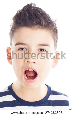 Portrait of little boy looking with funny amazed face expression - stock photo