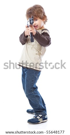 Portrait of little boy with automatic weapon (Kalashnikov). Isolated on white background - stock photo