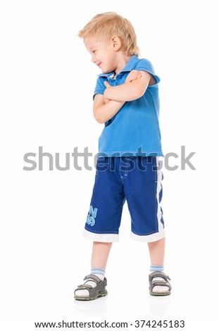 Portrait of little boy with hands folded isolated on white background - stock photo