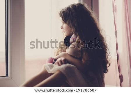 portrait of little girl indoor - stock photo