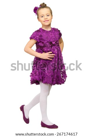 Portrait of little girl isolated - stock photo