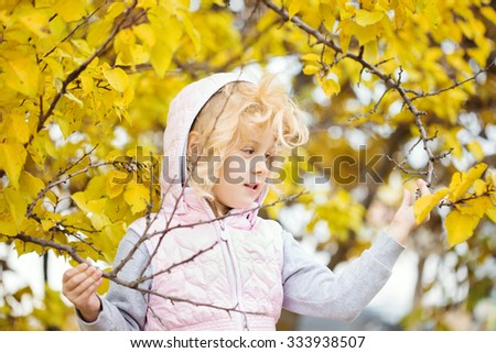 Portrait of little girl with autumn leaves, autumn outdoor - stock photo