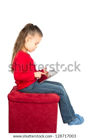 Portrait of Little Girl with Tablet Computer, isolated on White - stock photo
