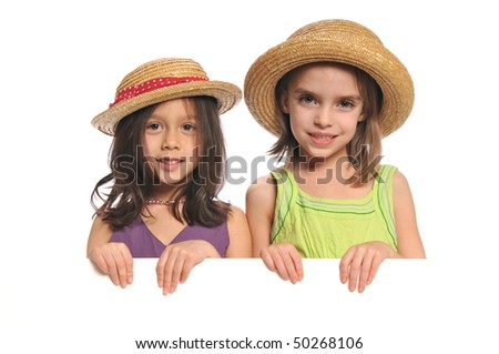Portrait of little girls holding a blank sign isolated on a white background - stock photo