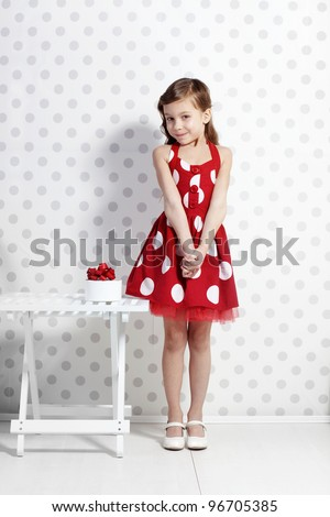 Portrait of little pin-up girl - stock photo