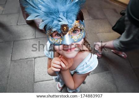 PORTRAIT OF LITTLE TOURIST IN VENICE - stock photo