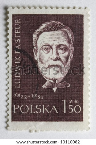 Portrait of Louis Pasteur, French chemist and microbiologist,  on a vintage post stamp from Poland - stock photo