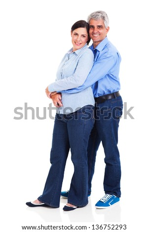 portrait of loving middle aged couple on white background - stock photo