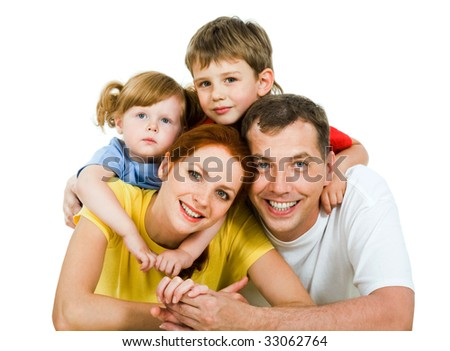 Portrait of lying family together isolated on a white background - stock photo