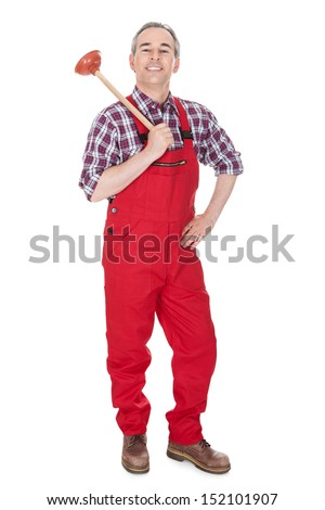Portrait Of Male Plumber Holding Plungerover white background - stock photo