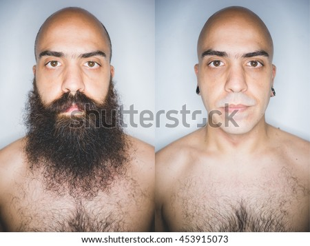 Portrait of man bearded and shaved, before and after collage - shaving, wellness, transformation concept - stock photo