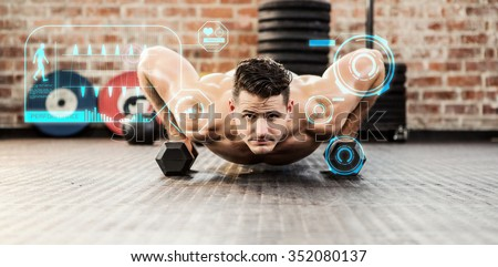 Portrait of man doing dumbbell push ups against fitness interface - stock photo