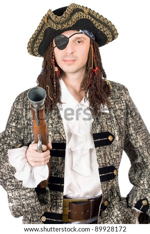 Portrait of man dressed as pirate with a pistol in hand. Isolated - stock photo