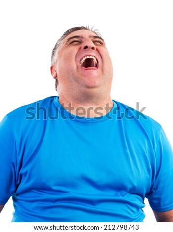 Portrait of man laughing hysterically isolated over white background  - stock photo