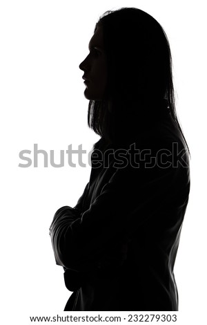 Portrait of man's silhouette in profile on white background - stock photo