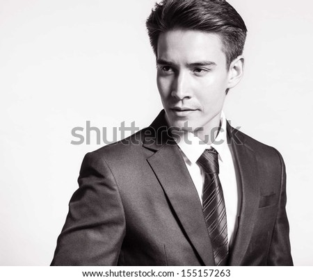 Portrait of man thinking (black and white) - stock photo
