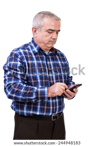Portrait of  man using his smart  phone against white background - stock photo