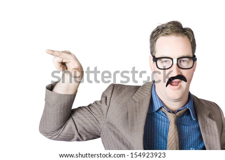 Portrait Of Mature Businessman Gesturing With Finger On White Background - stock photo