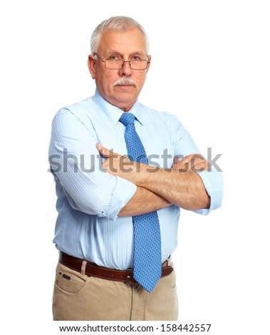 Portrait of mature Businessman isolated on white background. - stock photo