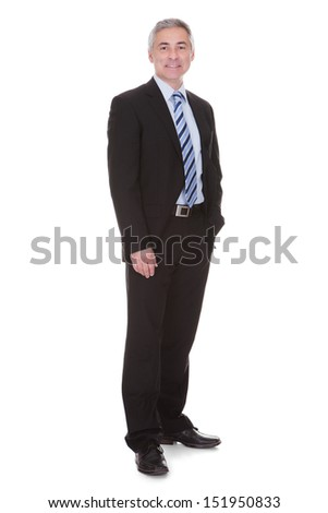 Portrait Of Mature Businessman Isolated Over White Background - stock photo