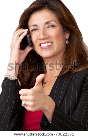 Portrait of mature elegant businesswoman wearing black suit isolated on white background talking on cell phone with thumbs up. - stock photo