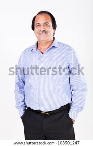 portrait of mature Latin businessman isolated on white, mature businessman isolated on white - stock photo