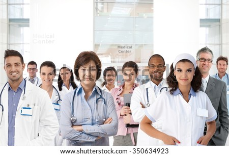 Portrait of medical center team, doctors, nurses. - stock photo