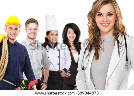 portrait of medical doctor and  patient in the background. worker and employee healthcare insurance concept - stock photo
